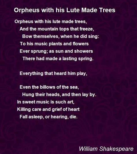 Orpheus With His Lute Made Trees Poem by William