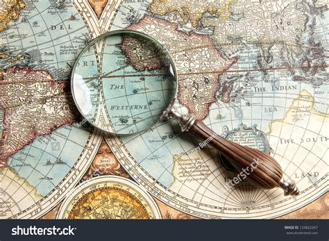 Magnifying Glass Ancient Old Map Stock Photo 124822267
