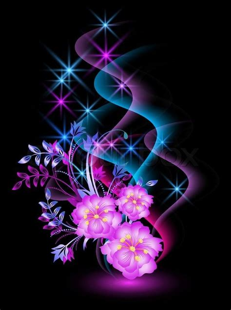 Stock vector of 'Glowing background with flowers and stars