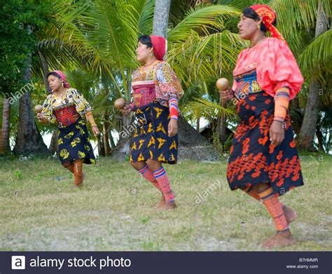 Local Kuna Indians practicing a traditional dance on Isla