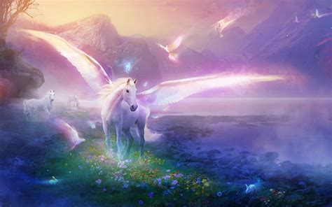 White Winged Unicorn With Open And White Pigeons In The